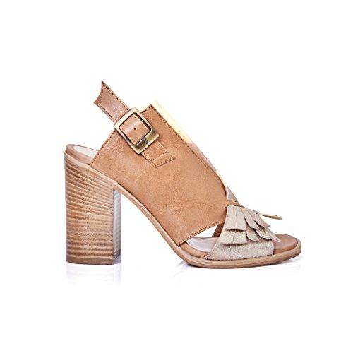 sandalo pelle tacco donna modello ixos frange marrone e oro