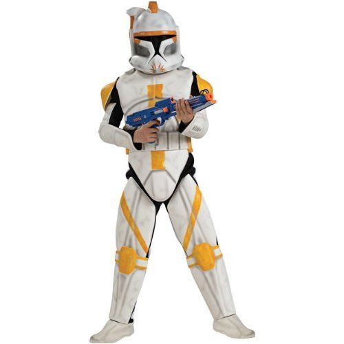 Star Wars Deluxe Kinder Kostüm Clonetrooper Commander Cody Größe L 8 bis 10 (Kind Wars Luke Kostüme Star Skywalker)