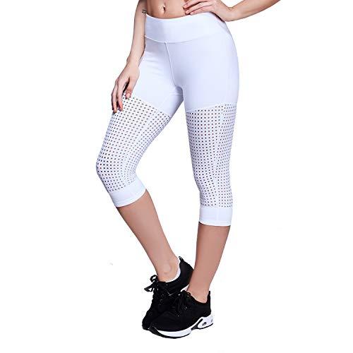 Yoga Crop Legging (Matymats Damen Hohe Taille Yoga Capri Hose Bauchkontrolle Workout Running Crop Leggings Innentaschen, Damen, Weiß, Large)