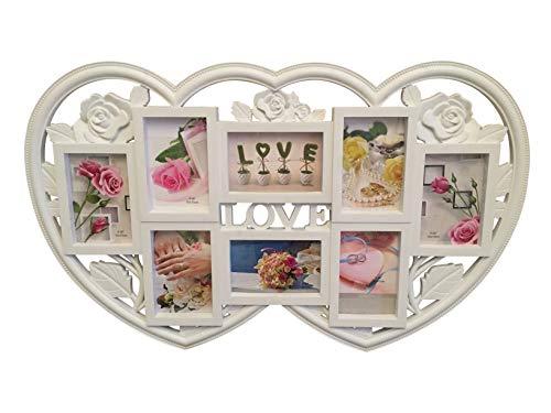 Lalia Fotorahmen Collage mehrere Fotos, Herzform XXL Liebsten/die Liebste, zur Hochzeit, zum Geburtstag, weiß, Kunststoff, romantisch Fotos zu je 10x15cm Hochzeitsgeschenk für das Brautpaar (Design8)