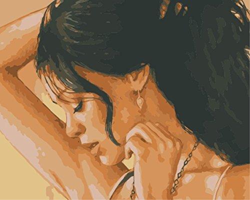 hlen Kits || Bezaubernde Seite Gesicht 50 x 40 cm || Malen nach Zahlen, DIGITAL Ölgemälde (Ohne Frame) (Gesicht Malen Kit)