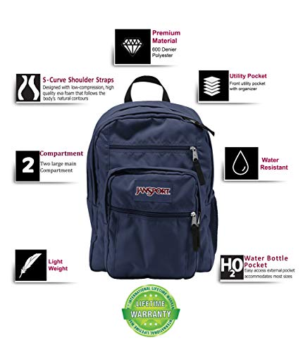 JanSport Big Student Backpack (Navy) (Navy Blue) Image 2