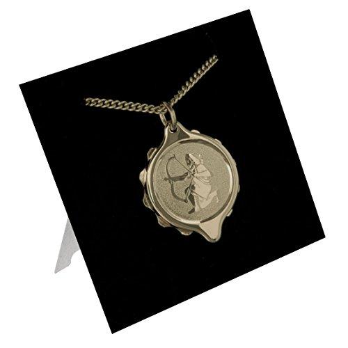 SOS Talisman 222318 Colgante con Dije (Collar) Símbolo Sagitario con Identificación Alerta Médica. Chapado en Oro