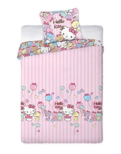 Theonoi Kinderbettwäsche Bettgarnitur Baby Bettwäsche 2 Teile Set : Kopfkissenbezug + Bettbezug, Baumwolle - Wählbar: Kitty Marie Bambi - Geschenk für Mädchen (Hello Kitty 160 x200) - Kitty Hello Teen