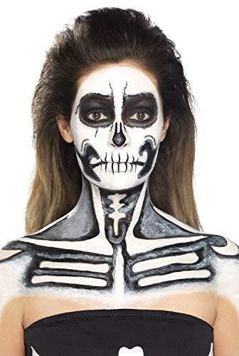 (Fancy Me Herren Damen Halloween Latex Skelett Knochen Spezialeffekte Make-Up Kostüm Kleid Outfit Zubehör Set)