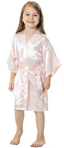 JOYTTON Mädchen Brautparty Satin Kimono Robe mit goldem Funkeln Flower (Mädchen Für Kostüm Mulan)