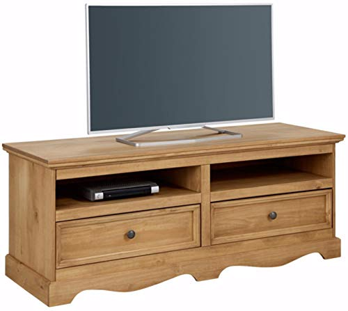 Loft 24 A/S TV-Bank Lowboard Fernsehschrank Fernsehtisch Landhaus Kiefer Massivholz 2 Schubladen 2 Fächer 140 x 50 x 55 cm (gebeizt geölt)