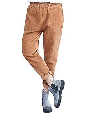 Youlee Mujeres Nuevo Cintura elástica Pantalones de pana con bolsillos