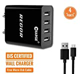 Regor [4 Port] 5 Amp Wall Charger Adapter/BIS Certified/Indian Plug for Mobiles&Tablets +