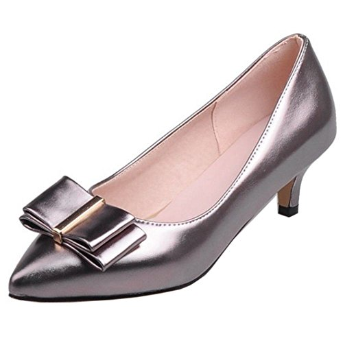 COOLCEPT Damen Mode-Event Kitten Heels Pumps Party Shoes with Bow Black Nickel