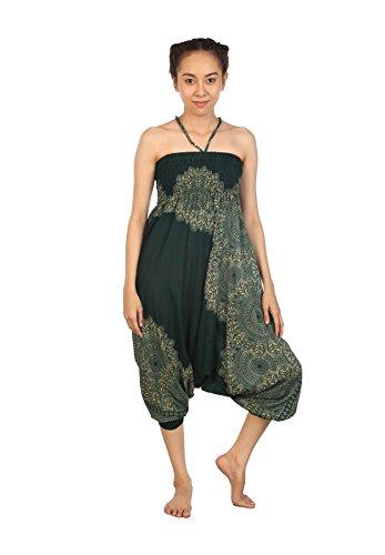 Lofbaz Damen Hippie Boho Hose 2 in 1 Haremshose & Jumpsuit Aladinhose Pumphose Peacock 1 Dunkelgrün