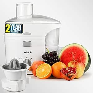 iBELL JU1400SG Juice Maker 300-Watt Fruit Juicer, Copper Motor, Includes Juicer Jar, Citrus Juice Extractor and Detachable Pulp Collector (White)