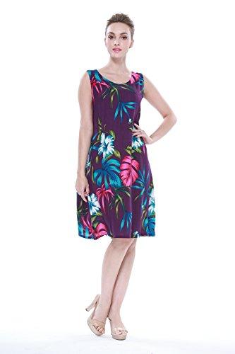 Mujer-hawaiano-Arruga-Una-lnea-Flowy-Luau-Vestido-en-Bonita-Floral-Prpura