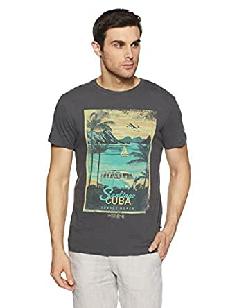 Jack & Jones Men's T-Shirt (12128630-1937470010_Asphalt_Small)