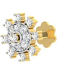 TBZ - The Original 18k (750) Yellow Gold and Diamond Floral Screw Nosepin