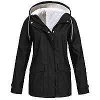 TIMEMEAN Faux Fleece Thick Womens Waterproof Jacket Windproof Coat Winter Warm Outerwear Black Size 12