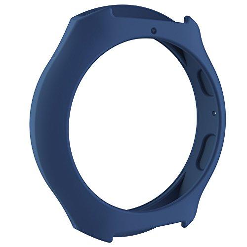 Silikon Schutzhülle Rahmen Case Cover Ersatz Band Displayschutzfolie Sleeve für Samsung Galaxy S2Smart Watch, Herren, dunkelblau (Galaxy S2-gummi-handy-fällen)