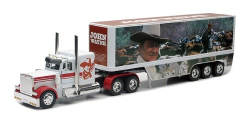 John Wayne Peterbilt Die Cast Semi-Truck Tractor and Trailer Hauler Set by New Ray