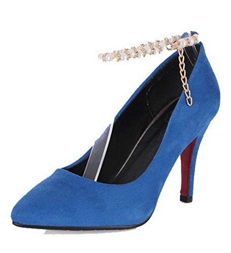 VogueZone009 Damen Spitz Zehe Ziehen Auf Mattglasbirne Rein Stiletto Pumps Schuhe Blau