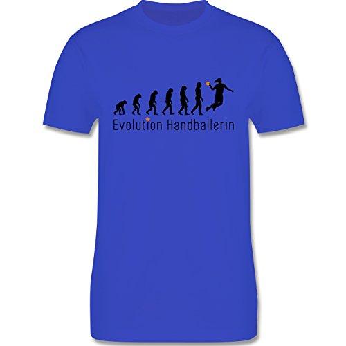 Evolution - Handballerin Evolution Wurf - Herren Premium T-Shirt Royalblau