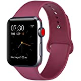 ATUP Correa Compatible para Apple Watch Correa 38mm 42mm 40mm 44mm, Correa de Repuesto de Silicona Suave para iWatch Series 4, Series 3, Series 2, Series 1 (02 Wine Red, 42mm/44mm-M/L)