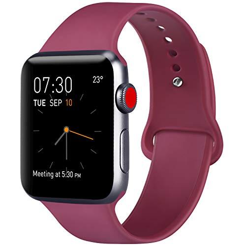 ATUP Cinturino Compatibile con per Apple Watch Cinturini 38mm 40mm, Cinturino in Silicone Morbido Compatibile con per iWatch Series 4, Series 3, Series 2, Series 1 (02 Wine Red, 38mm/40mm-S/M)