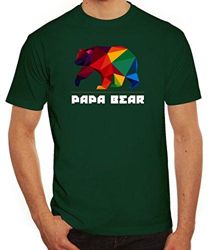 Geschenkidee Herren T-Shirt mit Polygon Papa Bear Motiv von ShirtStreet Dunkelgrün
