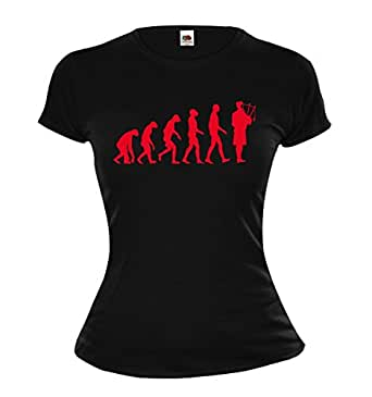 Girlie T-Shirt The Evolution of bagpipes-XS-Black-Red