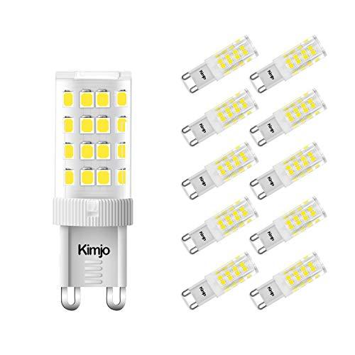 10 x Lampadine LED G9 Kimjo, 5W Bianco Fredda 6000K 400LM G9 Lampade Equivalente 40W Alogena, 360° Angolo a fascio CRI>80Ra AC220-240V Non Dimmerabile