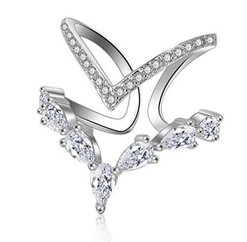Summens Damen Ringe Partnerringe 925 Sterling Silber Verstellbar Personalisierte Modische Unregelmäßige Doppeldiamantring Eröffnungringe