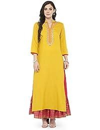 Varanga Yellow Embroidered Kurta With Pink Printed Skirt KFF-VAR118107_PZ21029