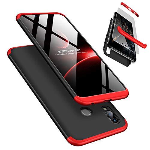 Handyhülle für Huawei Honor Play, LaiXin Huawei Honor Play Hülle mit Tempered Glas Schutzglas 360 Grad Case Schutzhülle PC Plastik Cover Kratzfeste Stoßdämpfende Bumper - Rot/Schwarz