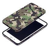 Cujas iPhone 7 Plus / 8 Plus kompatible Hülle Weiche Camouflage TPU Silikon Schutzhülle Blickdicht mit IMD Technologie Camo Militär Muster Case Schutz Handyhülle (iPhone 7 Plus / 8 Plus Grün)