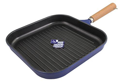 Karcher 122128 Sartén grill de fundición de aluminio con mango de madera, azul oscuro