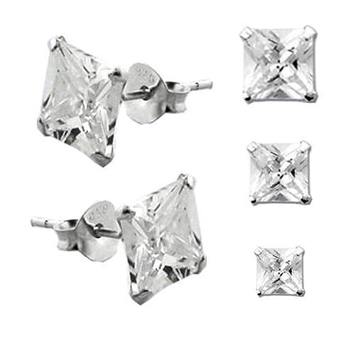 1 Paar 925 Silber Ohrstecker Eckige Zirkonia Hip Hop Ohrringe 10mm (Ohrringe Männer Echt Silber)