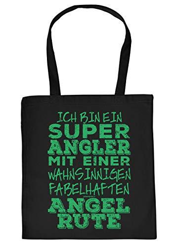 Stofftasche mit Motiv fr Angler: Ich Bin EIN super Angler mit Einer fabelhaften Angelrute - Geschenkidee fr alle Hobbyangler - Fischen - schwarz