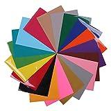 HOHOFILM 19Colors Set – 25 cm x 25 cm Blätter Wärmeübertragung Vinyl PVC für T-Shirts verschiedene Farben zum Aufbügeln, HTV Vinyl für Cricut und Silhouette Cameo