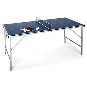 Klarfit King Pong – Mini Tischtennisplatte, Tischtennis, für Kinder, 75 x 153 cm Spielfläche, schlaggeschützte Beschichtung, klappbar, inkl. 2 x Schläger und 3 x Bälle, blau oder grün