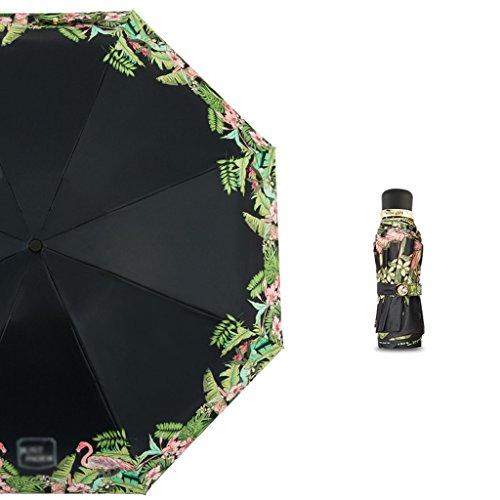 Brilliant firm Mädchen-mini faltender Regenschirm-Sonnenschutz-UVsonnenschirm-ultra leichter Regenschirm (Color : Black)