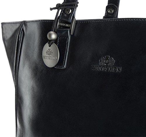 WITTCHEN Henkeltaschen Damentasche, 7x28x40 cm, Marineblau, Leder, Handmade, 32-4-029-7 Schwarz 4