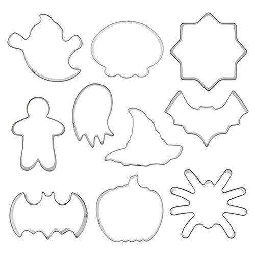 Egurs 10 Teile/Satz Halloween Ausstechformen - Verschiedene Formen - Geist, Fledermaus, Kürbis, Katze & mehr Formen
