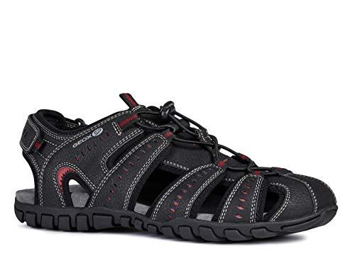 Geox Herren Trekking Sandalen Sand.MITO U92Q2B Männer Outdoor-Sandale,Sport-Sandale,geschlossener Zehenbereich,SCHWARZ,41