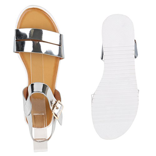 Damen Komfort-Sandalen Metallic Sandale Bequemschuh Profilsohle Silber Lack Weiss