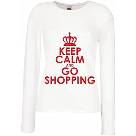 N4579M Mangas largas Camiseta de la hembra Keep Calm and Go Shopping!