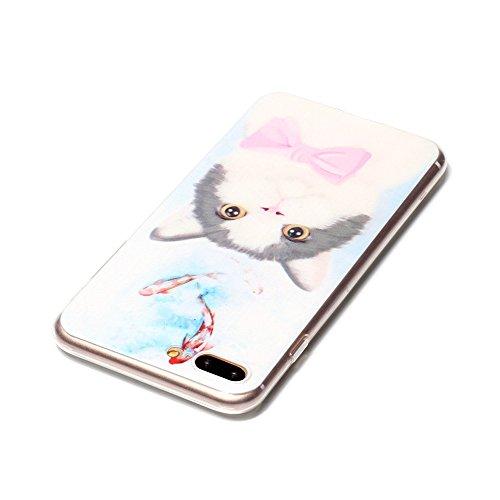 iPhone 7 Plus Hülle, SHUNDA Ultra Dünn Schutzhülle Weiche TPU Silicone Stoßstangen Handyhülle Abdeckung Rückschale Case cover für iPhone 7 Plus (5.5 inch) - Feder Katze