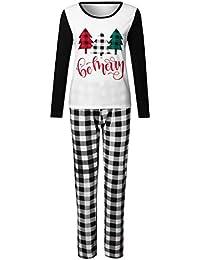 Kanlin1986 Navidad Conjunto De Pijamas A Juego Familiar Manga Larga Blusa Y TartáN Pantalones - Ropa De Dormir Nightwear Vacaciones Suit para Dad Mom NiñOs Bebé