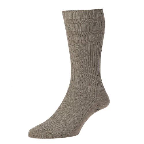 fb81a9b9ab11 HJ Hall Chaussettes Softop Chaussettes riches en coton pour homme - Beige -  XX-Large