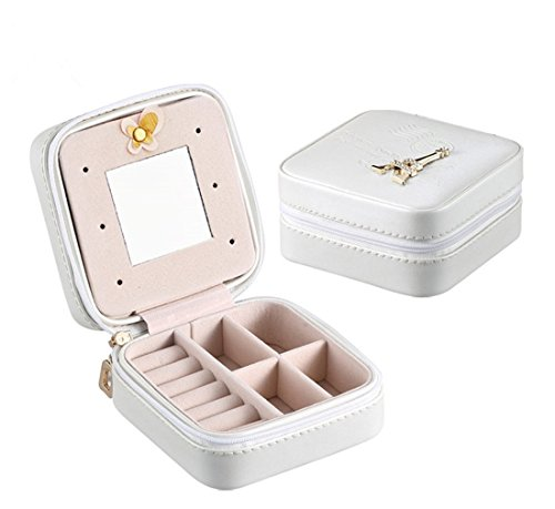 cozhomtek 1pc Small Travel Jewelry Leder Box Organizer Storage Fall für Ohrring Ring Armband Halskette Container Eiffel Tower-white (Storage Tower Box)