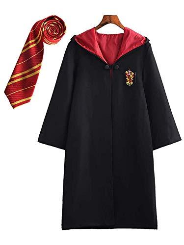 Costume per Adulti per Bambini Costume di Harry Potter Mantello Articoli per Set di cinematografici Bacchetta Magica Cravatta Sciarpa Occhiali Carnevale Fancy Dress Halloween Nero Big Size