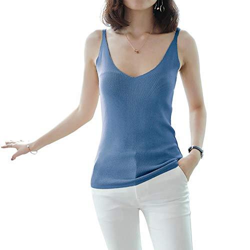 Occitop Solid Knit Tops Frauen Sommer V-Ausschnitt Sleeveless Slim Weste Camisole (Blau) -